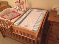 Wooden cot/cot bed top changer