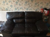 2x two seater leather sofas & footstool