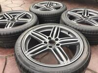 "18"" Audi Segment Style A3 A4 A6 Alloy wheels & Tyres Golf MK5 GTi Caddy Scirocco"
