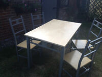 Table and 4 chairs beechwood colour