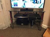 Glass TV Corner unit - clear glass with chrome legs, incl two shelfs