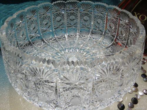 XL VINTAGE CRYSTAL BOHEMIAN GLASS VASE BOWL CENTERPIECE CZECH HAND CUT OLD RARE