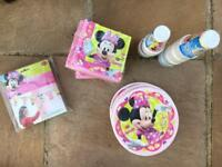 Brand new mini mouse party ware cups plates napkins banner