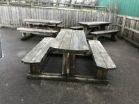 Wooden picnic bench and table