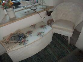 lloyd loom blanket box and chair white wicker