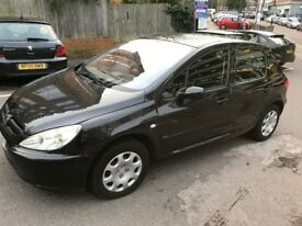 2004 Black Peugeot 307 Hatchback 89K Miles MOT until end of June 2018