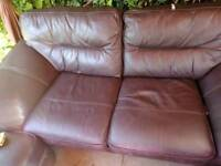 Genuine Leather 2 seater sofa 2 chairs and 2 storage footstools