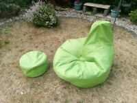High Backed Bean Bag + Bean Bag Stool