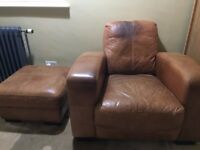 DFS Caesar tan leather armchair and footstool