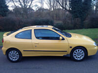 RENAULT MEGANE 1.6 COUPE 2001 5 MONTHS MOT ALLOYS/CD/AIR CON/HALF LEATHER-WE CAN DELIVER TO YOU