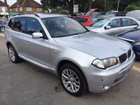 2005/55 BMW X3 3.0 D M SPORT DIESEL AUTOMATIC SUV 5 DOOR SILVER,HIGH SPEC,FULL LEATHER INTERIOR,