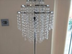 Standard lamp - chrome with pretty glass droplets