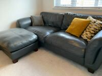 Three seater couch & footstool (leather)