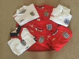 Kids England football shirts & shorts - various strips & ages -16 items