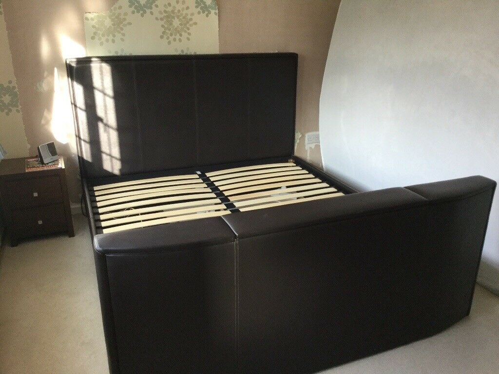 Brown Leather Super Kingsize Tv Bed In Walsall West Midlands