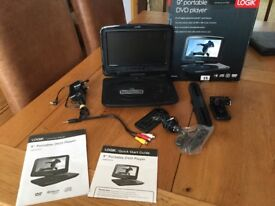 """Logic 9"""" Portable DVD Player in excellent condition and complete with instructions and plugs etc."""