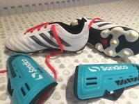 Kids ADIDAS football boots size 12 and shin pads