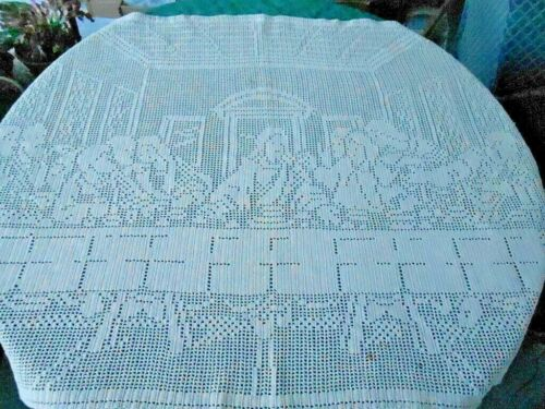 """HAND CROCHET FILET LACE WALL HANGING, BEIGE WITH """"THE LAST SUPPER DESIGN"""",C1920"""