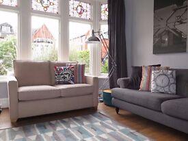Beige/Sand Contemporary 2 Seater Sofa