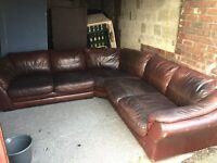 BROWN LEATHER CORNER SOFA,CAN DELIVER