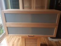 Ikea ash and glass kitchen wall cabinet, very good condition.