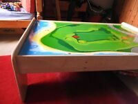 Childrens' wooden play table - good for playmobil, lego and train sets