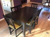 Ikea Bjursta Black Table and Chairs