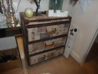 Chest of drawers, luggage/suitcase theme. Good storage, 3 deep drawers.