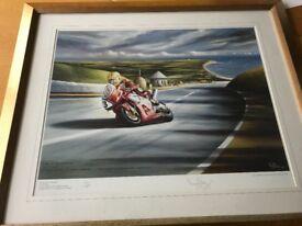 Joey Dunlop Limited Edition Print at Isle of Man TT Race by Irish Artist Verner Finlay