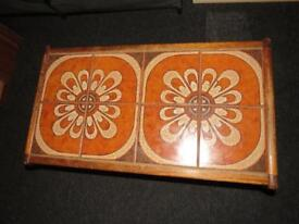 Vintage retro coffee table tiled 1970s