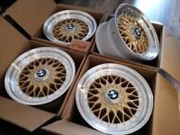 "NEW 16"" 16S INCH ALLOY WHEELS BBS STYLE ALLOYS GOLD BMW E30 4 STUD DEEP DISH DISHED for sale  Barking, London"