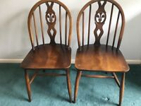Ercol Pair of Prince of Wales Fleur de Lys Chairs