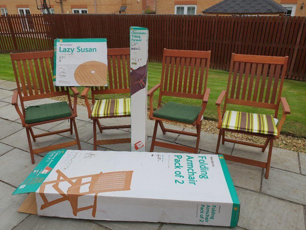 6 x garden chairs parasol lazysusan