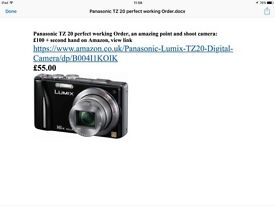 Panasonic tz20 camera