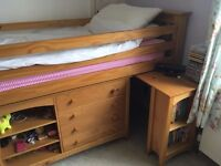 Raised Bed with additional Chest of Drawers, Cupboard and Desk Unit