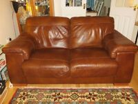 Brown Leather 3 & 2 Seater Sofas and Footstool,
