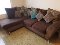 £850ono L Shape Sofa and Rotating Arm Chair. Leather, Suede, and Fabric. NEARLY NEW!!