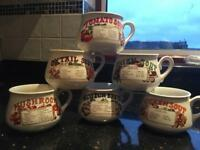 Full set of retro soup mugs/bowls