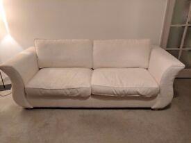 REDUCED!!! White oversized chenise sofa , tulip shaped wooden frame