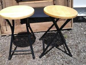"2 IKEA Folding Stools Wood and metal 18"" high x 12"" round  Like new condition excellent"