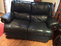 Navy Blue leather 2 seater sofa plus 2 reclining chairs (also one of them swivels)