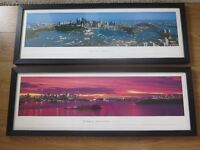 """Framed photographic prints of Sydney, Australia - night and day. 15.5"""" x 42"""" x 1"""""""