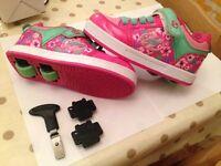 Girls Girl's Heelys X2 Pink/Berry/Mint Thunder Size UK13 Eu 32 USA Yth1 - Excellent Condition