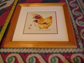"""2 pictures by Annabel Fairfax-Jones. 3 hens 1.75"""" x 9.75"""". 1 cockerel 11""""x11"""" Beautifully framed."""