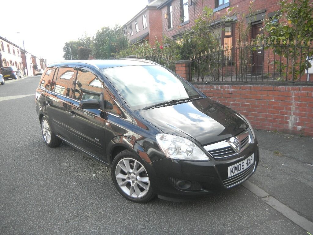 vauxhall zafira 1 9 cdti design 150 bhp 08 reg black 7 seater leather 1 owner fsh in. Black Bedroom Furniture Sets. Home Design Ideas