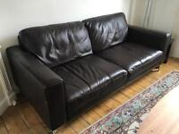 Brown leather sofa set 3 + 2 seater