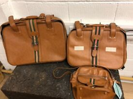 3 Piece Luggage / Suitcase Set, RJW Tan Faux Leather With Buckle Trim - Vintage