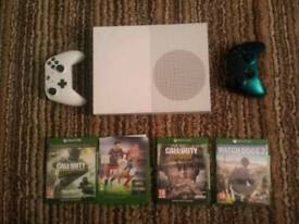 Xbox One S with 2 controllers and 4 games