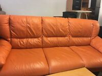 SOFA LEATHER ORANGE RETRO THREE SEATER IN EXCELLENT CONDITION DELIVER LOCAL MCR