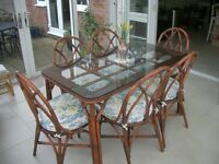 Glass top bamboo dining table & chairs (could be re-furbished as shabby chic ?)